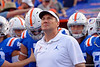 Florida Gators head coach Dan Mullen leads the Gators onto the field as the Gators defeat the #5 Auburn Tigers 24-13 at Ben Hill Griffin Stadium in Gainesville, Florida on October 5th, 2019 (Photo by David Bowie/Gatorcountry)