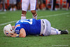 Florida Gators quarterback Kyle Trask (11) is hit and lies on the turf in pain as the Gators defeat the #5 Auburn Tigers 24-13 at Ben Hill Griffin Stadium in Gainesville, Florida on October 5th, 2019 (Photo by David Bowie/Gatorcountry)