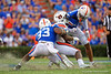 Florida Gators linebacker David Reese II (33) and Florida Gators defensive back Donovan Stiner (13) combine for a tackle as the Gators defeat the #5 Auburn Tigers 24-13 at Ben Hill Griffin Stadium in Gainesville, Florida on October 5th, 2019 (Photo by David Bowie/Gatorcountry)