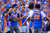The Florida Gators mens basketball team dances on the first during a timeout as the Gators defeat the #5 Auburn Tigers 24-13 at Ben Hill Griffin Stadium in Gainesville, Florida on October 5th, 2019 (Photo by David Bowie/Gatorcountry)
