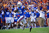 Florida Gators wide receiver Freddie Swain (16) catches a pass and turns upfield and into the endzone for a touchdown as the Gators defeat the #5 Auburn Tigers 24-13 at Ben Hill Griffin Stadium in Gainesville, Florida on October 5th, 2019 (Photo by David Bowie/Gatorcountry)