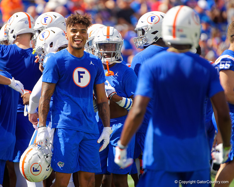 Florida Gators wide receiver Trevon Grimes (8) during pregame as the Gators defeat the #5 Auburn Tigers 24-13 at Ben Hill Griffin Stadium in Gainesville, Florida on October 5th, 2019 (Photo by David Bowie/Gatorcountry)