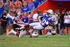 Florida Gators wide receiver Josh Hammond (10) is tackled as the Gators defeat the #5 Auburn Tigers 24-13 at Ben Hill Griffin Stadium in Gainesville, Florida on October 5th, 2019 (Photo by David Bowie/Gatorcountry)