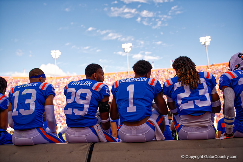 Florida Gators defensive back Donovan Stiner (13),Florida Gators defensive back Jeawon Taylor (29),Florida Gators defensive back CJ Henderson (1) and Florida Gators defensive back Jaydon Hill (23) as the Gators defeat the #5 Auburn Tigers 24-13 at Ben Hill Griffin Stadium in Gainesville, Florida on October 5th, 2019 (Photo by David Bowie/Gatorcountry)