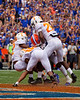 Florida Gators tight end Kyle Pitts (84) is met at the endzone by three volunteers as the Gators defeat SEC East rival the University of Tennessee Volunteers at Ben Hill Griffin Stadium in Gainesville, Florida on September 21st, 2019 (Photo by David Bowie/Gatorcountry)