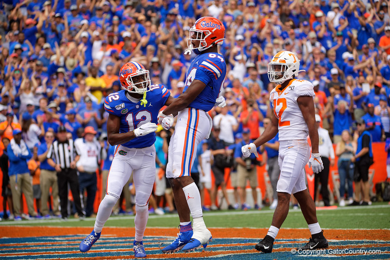 Florida Gators tight end Kyle Pitts (84) and Florida Gators wide receiver Van Jefferson (12) celebrate after Pitt's touchdown to put the Gators up 7-0, as the Gators defeat SEC East rival the University of Tennessee Volunteers at Ben Hill Griffin Stadium in Gainesville, Florida on September 21st, 2019 (Photo by David Bowie/Gatorcountry)