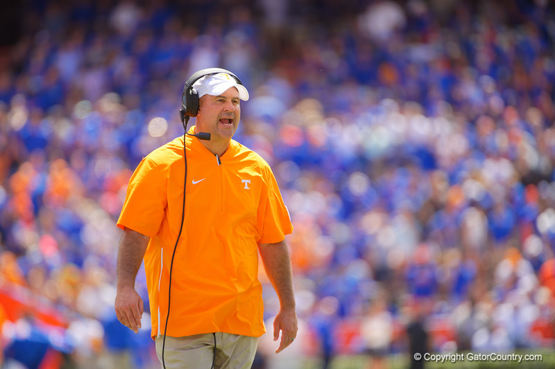 Tennessee Volunteers head coach Jeremy Pruitt as the Gators defeat SEC East rival the University of Tennessee Volunteers at Ben Hill Griffin Stadium in Gainesville, Florida on September 21st, 2019 (Photo by David Bowie/Gatorcountry)