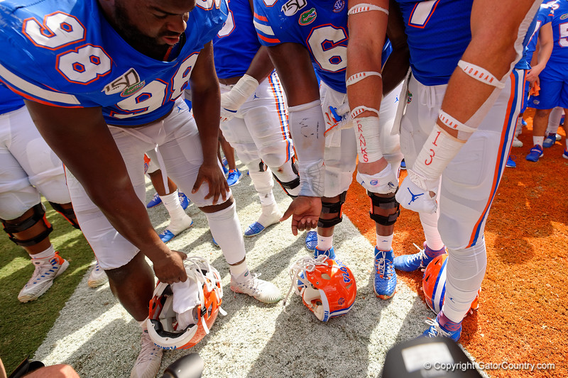 Florida Gators tight end Lucas Krull (7) shows off his support for Florida Gators quarterback Feleipe Franks (13) as the Gators celebrate defeating SEC East rival the University of Tennessee Volunteers at Ben Hill Griffin Stadium in Gainesville, Florida on September 21st, 2019 (Photo by David Bowie/Gatorcountry)