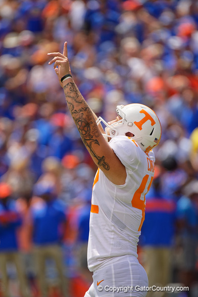 Tennessee Volunteers place kicker Brent Cimaglia (42) celebrates after kicking in a field goal as the Gators defeat SEC East rival the University of Tennessee Volunteers at Ben Hill Griffin Stadium in Gainesville, Florida on September 21st, 2019 (Photo by David Bowie/Gatorcountry)