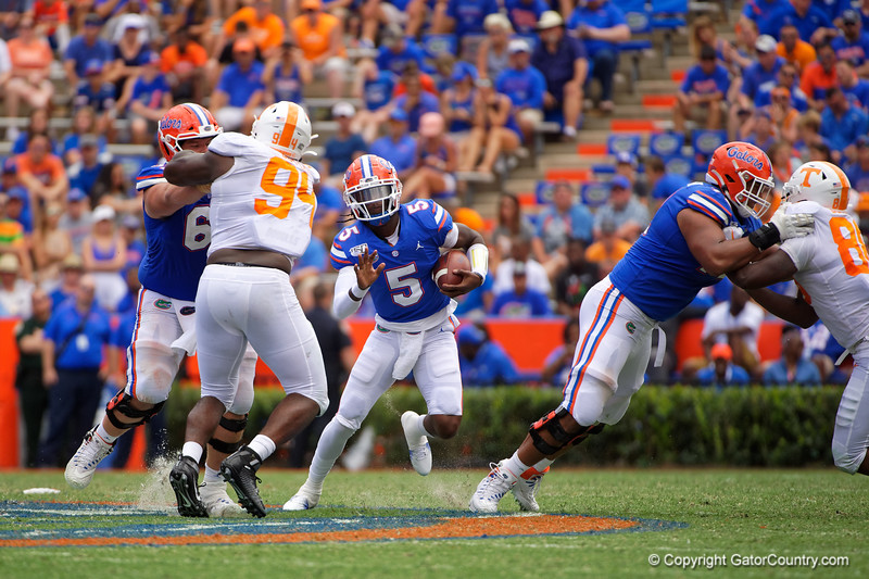 Florida Gators quarterback Emory Jones (5) rushing as the Gators defeat SEC East rival the University of Tennessee Volunteers at Ben Hill Griffin Stadium in Gainesville, Florida on September 21st, 2019 (Photo by David Bowie/Gatorcountry)