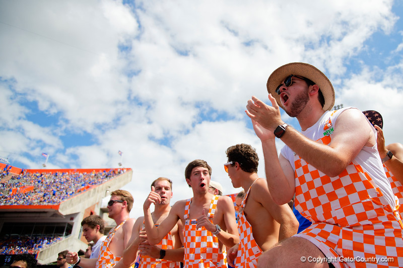 Volunteer fans cheer on as the Gators defeat SEC East rival the University of Tennessee Volunteers at Ben Hill Griffin Stadium in Gainesville, Florida on September 21st, 2019 (Photo by David Bowie/Gatorcountry)