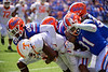 Tennessee Volunteers wide receiver Josh Palmer (5) is tackled by Florida Gators defensive back Chester Kimbrough (25) as the Gators defeat SEC East rival the University of Tennessee Volunteers at Ben Hill Griffin Stadium in Gainesville, Florida on September 21st, 2019 (Photo by David Bowie/Gatorcountry)