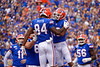 Florida Gators tight end Kyle Pitts (84) and Florida Gators wide receiver Freddie Swain (16) celebrate after Pitt's touchdown to put the Gators up 7-0, as the Gators defeat SEC East rival the University of Tennessee Volunteers at Ben Hill Griffin Stadium in Gainesville, Florida on September 21st, 2019 (Photo by David Bowie/Gatorcountry)
