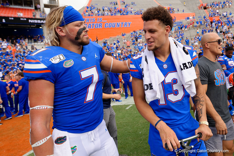 Florida Gators tight end Lucas Krull (7) and Florida Gators quarterback Feleipe Franks (13) as the Gators celebrate defeating SEC East rival the University of Tennessee Volunteers at Ben Hill Griffin Stadium in Gainesville, Florida on September 21st, 2019 (Photo by David Bowie/Gatorcountry)
