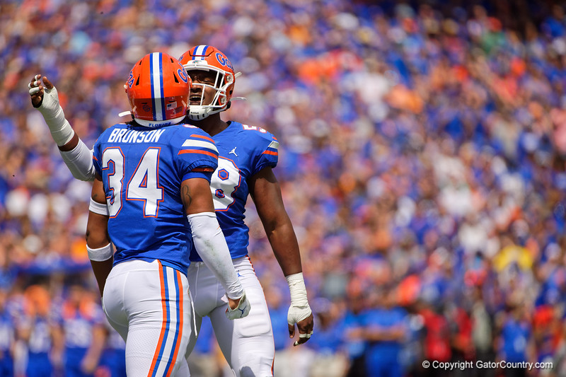 Florida Gators linebacker Lacedrick Brunson (34) and Florida Gators linebacker Jonathan Greenard (58) as the Gators defeat SEC East rival the University of Tennessee Volunteers at Ben Hill Griffin Stadium in Gainesville, Florida on September 21st, 2019 (Photo by David Bowie/Gatorcountry)