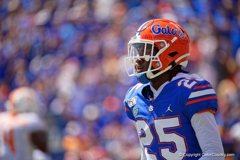 Florida Gators defensive back Chester Kimbrough (25) as the Gators defeat SEC East rival the University of Tennessee Volunteers at Ben Hill Griffin Stadium in Gainesville, Florida on September 21st, 2019 (Photo by David Bowie/Gatorcountry)