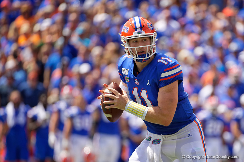 Florida Gators quarterback Kyle Trask (11) as the Gators defeat SEC East rival the University of Tennessee Volunteers at Ben Hill Griffin Stadium in Gainesville, Florida on September 21st, 2019 (Photo by David Bowie/Gatorcountry)