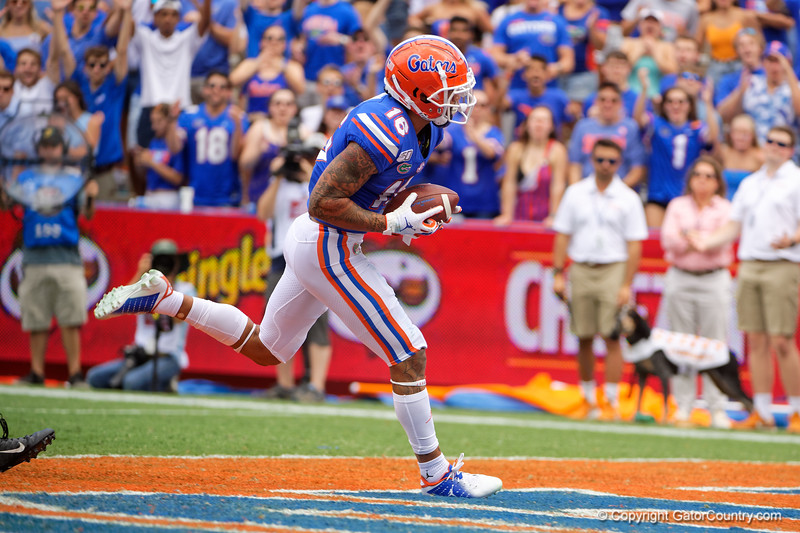 Florida Gators wide receiver Freddie Swain (16) catches a pass for a touchdown as the Gators defeat SEC East rival the University of Tennessee Volunteers at Ben Hill Griffin Stadium in Gainesville, Florida on September 21st, 2019 (Photo by David Bowie/Gatorcountry)