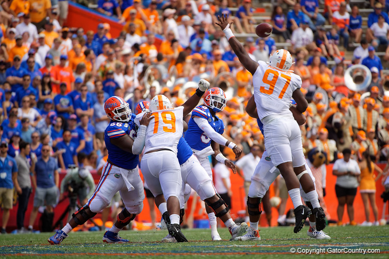 Florida Gators quarterback Emory Jones (5) passing as the Gators defeat SEC East rival the University of Tennessee Volunteers at Ben Hill Griffin Stadium in Gainesville, Florida on September 21st, 2019 (Photo by David Bowie/Gatorcountry)