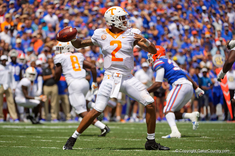 Tennessee Volunteers quarterback Jarrett Guarantano (2) passing as the Gators defeat SEC East rival the University of Tennessee Volunteers at Ben Hill Griffin Stadium in Gainesville, Florida on September 21st, 2019 (Photo by David Bowie/Gatorcountry)