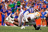 Florida Gators linebacker Jonathan Greenard (58) tackling Tennessee Volunteers running back Eric Gray (3) causing a fumble as the Gators defeat SEC East rival the University of Tennessee Volunteers at Ben Hill Griffin Stadium in Gainesville, Florida on September 21st, 2019 (Photo by David Bowie/Gatorcountry)