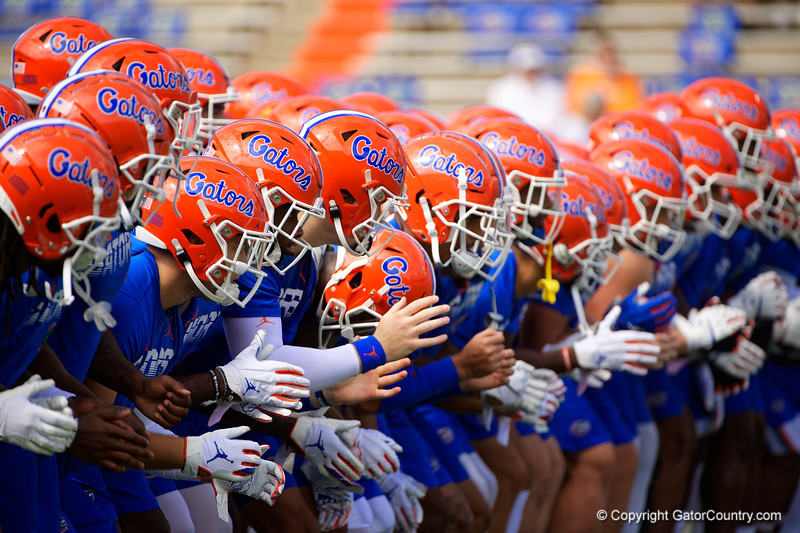 The Florida Gators during warmup as the Gators defeat SEC East rival the University of Tennessee Volunteers at Ben Hill Griffin Stadium in Gainesville, Florida on September 21st, 2019 (Photo by David Bowie/Gatorcountry)