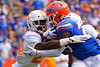 Florida Gators running back Dameon Pierce (27) rushes into the endzone as the Gators defeat SEC East rival the University of Tennessee Volunteers at Ben Hill Griffin Stadium in Gainesville, Florida on September 21st, 2019 (Photo by David Bowie/Gatorcountry)