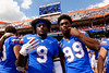 Florida Gators tight end Keon Zipperer (9) and Florida Gators linebacker Lloyd Summerall III (99) as the Gators celebrate defeating SEC East rival the University of Tennessee Volunteers at Ben Hill Griffin Stadium in Gainesville, Florida on September 21st, 2019 (Photo by David Bowie/Gatorcountry)
