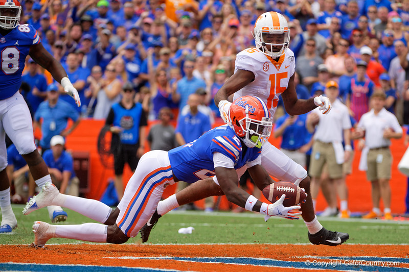 Florida Gators defensive back Trey Dean III (21) dives in the endzone to for an interception as the Gators defeat SEC East rival the University of Tennessee Volunteers at Ben Hill Griffin Stadium in Gainesville, Florida on September 21st, 2019 (Photo by David Bowie/Gatorcountry)