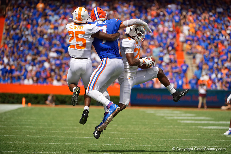 Tennessee Volunteers defensive back Theo Jackson (26) intercepts a pass as the Gators defeat SEC East rival the University of Tennessee Volunteers at Ben Hill Griffin Stadium in Gainesville, Florida on September 21st, 2019 (Photo by David Bowie/Gatorcountry)