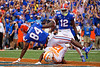 Florida Gators tight end Kyle Pitts (84) dives into the endzone to put the Gators up 7-0 as the Gators defeat SEC East rival the University of Tennessee Volunteers at Ben Hill Griffin Stadium in Gainesville, Florida on September 21st, 2019 (Photo by David Bowie/Gatorcountry)