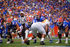 Florida Gators quarterback Kyle Trask (11) at the line of scrimmage as the Gators defeat SEC East rival the University of Tennessee Volunteers at Ben Hill Griffin Stadium in Gainesville, Florida on September 21st, 2019 (Photo by David Bowie/Gatorcountry)