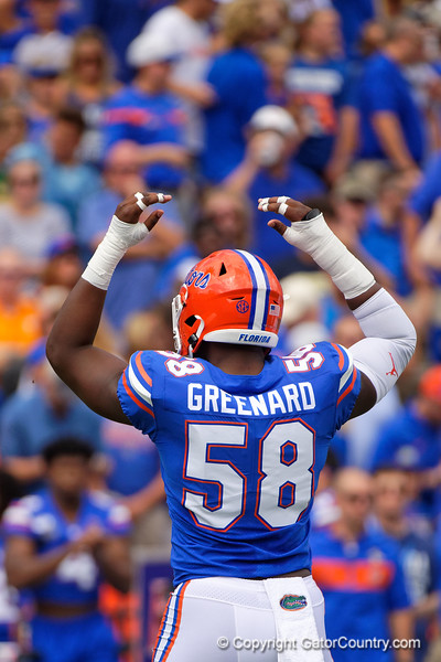 Florida Gators linebacker Jonathan Greenard (58) as the Gators defeat SEC East rival the University of Tennessee Volunteers at Ben Hill Griffin Stadium in Gainesville, Florida on September 21st, 2019 (Photo by David Bowie/Gatorcountry)