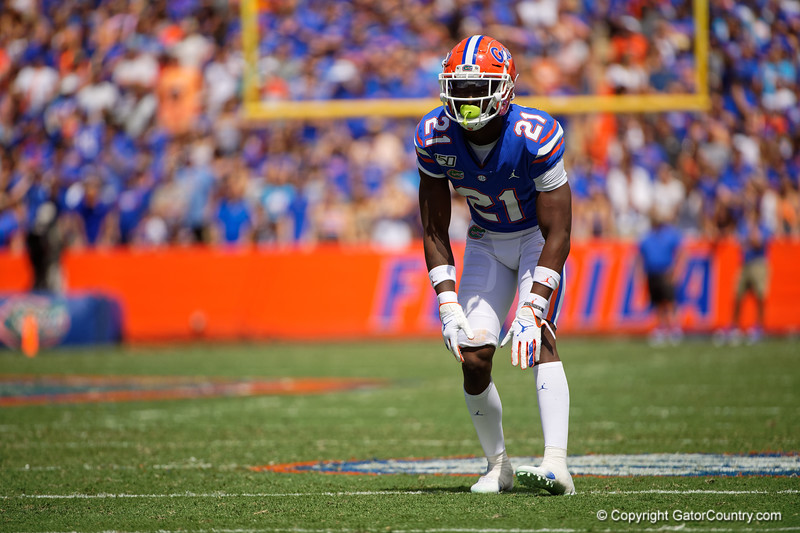 Florida Gators defensive back Trey Dean III (21) as the Gators defeat SEC East rival the University of Tennessee Volunteers at Ben Hill Griffin Stadium in Gainesville, Florida on September 21st, 2019 (Photo by David Bowie/Gatorcountry)