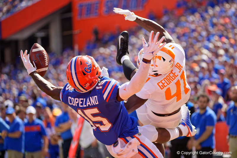 Florida Gators wide receiver Jacob Copeland (15) reaches out for the ball in the endzone but is unable to haul it in as the Gators defeat SEC East rival the University of Tennessee Volunteers at Ben Hill Griffin Stadium in Gainesville, Florida on September 21st, 2019 (Photo by David Bowie/Gatorcountry)