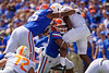 Florida Gators linebacker David Reese II (33) makes a tackle on a leaping Tennessee Volunteers running back Ty Chandler (8) as the Gators defeat SEC East rival the University of Tennessee Volunteers at Ben Hill Griffin Stadium in Gainesville, Florida on September 21st, 2019 (Photo by David Bowie/Gatorcountry)