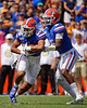 Florida Gators quarterback Emory Jones (5) hands the ball off to Florida Gators running back Malik Davis (20) as the Gators defeat SEC East rival the University of Tennessee Volunteers at Ben Hill Griffin Stadium in Gainesville, Florida on September 21st, 2019 (Photo by David Bowie/Gatorcountry)
