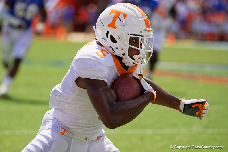 Tennessee Volunteers wide receiver Josh Palmer (5) as the Gators defeat SEC East rival the University of Tennessee Volunteers at Ben Hill Griffin Stadium in Gainesville, Florida on September 21st, 2019 (Photo by David Bowie/Gatorcountry)