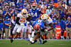 Florida Gators wide receiver Trevon Grimes (8) is tackjled by Tennessee Martin Skyhawks linebacker Dion Goldbourne (18)as the Gators defeat SEC East rival the University of Tennessee Volunteers at Ben Hill Griffin Stadium in Gainesville, Florida on September 21st, 2019 (Photo by David Bowie/Gatorcountry)