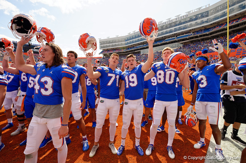 Florida Gators punter Tommy Townsend (43),Florida Gators place kicker Chris Howard (71),Florida Gators place kicker Evan McPherson (19), Florida Gators wide receiver Trent Whittemore (80) and Florida Gators defensive back Marco Wilson (3) as the Gators celebrate defeating SEC East rival the University of Tennessee Volunteers at Ben Hill Griffin Stadium in Gainesville, Florida on September 21st, 2019 (Photo by David Bowie/Gatorcountry)