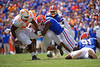 Florida Gators linebacker Jeremiah Moon (7) sacks Tennessee Volunteers quarterback Jarrett Guarantano (2) as the Gators defeat SEC East rival the University of Tennessee Volunteers at Ben Hill Griffin Stadium in Gainesville, Florida on September 21st, 2019 (Photo by David Bowie/Gatorcountry)