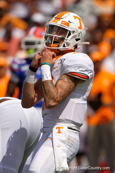 Tennessee Volunteers quarterback Brian Maurer (18) as the Gators defeat SEC East rival the University of Tennessee Volunteers at Ben Hill Griffin Stadium in Gainesville, Florida on September 21st, 2019 (Photo by David Bowie/Gatorcountry)