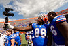 Florida Gators defensive lineman Adam Shuler (88) and Florida Gators offensive lineman Nick Buchanan (66) as the Gators celebrate defeating SEC East rival the University of Tennessee Volunteers at Ben Hill Griffin Stadium in Gainesville, Florida on September 21st, 2019 (Photo by David Bowie/Gatorcountry)