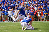 Florida Gators place kicker Evan McPherson (19) kicks in a field goal to put the Gators up 10-0 as the Gators defeat SEC East rival the University of Tennessee Volunteers at Ben Hill Griffin Stadium in Gainesville, Florida on September 21st, 2019 (Photo by David Bowie/Gatorcountry)