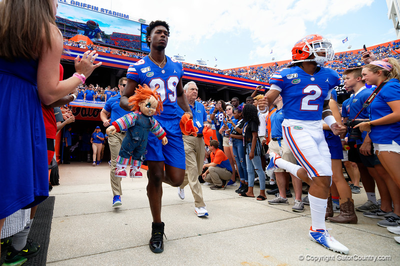 Florida Gators linebacker Lloyd Summerall III (99) and Florida Gators defensive back Brad Stewart Jr. (2) take the field as the Gators defeat SEC East rival the University of Tennessee Volunteers at Ben Hill Griffin Stadium in Gainesville, Florida on September 21st, 2019 (Photo by David Bowie/Gatorcountry)