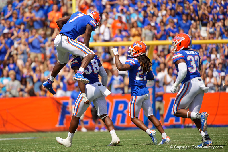 Florida Gators linebacker Jeremiah Moon (7) leaps into the air in celebration as the Gators defeat SEC East rival the University of Tennessee Volunteers at Ben Hill Griffin Stadium in Gainesville, Florida on September 21st, 2019 (Photo by David Bowie/Gatorcountry)
