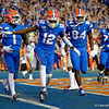 Florida Gators wide receiver Van Jefferson (12) celebrates after a touchdown as the Gators hosted and defeated the Florida State Seminoles 40-17 at Ben Hill Griffin Stadium in Gainesville, Florida on November 30th, 2019 (Photo by David Bowie/Gatorcountry)