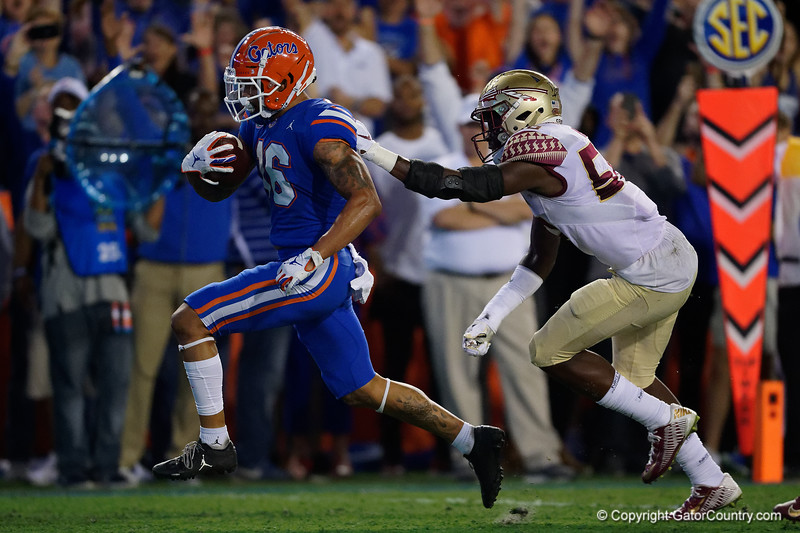 Florida Gators wide receiver Freddie Swain (16) catches a pass and sprints into the endzone as the Gators hosted and defeated the Florida State Seminoles 40-17 at Ben Hill Griffin Stadium in Gainesville, Florida on November 30th, 2019 (Photo by David Bowie/Gatorcountry)