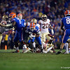 Florida Gators running back Lamical Perine (2) rushing as the Gators hosted and defeated the Florida State Seminoles 40-17 at Ben Hill Griffin Stadium in Gainesville, Florida on November 30th, 2019 (Photo by David Bowie/Gatorcountry)