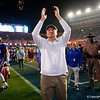 Florida Gators head coach Dan Mullen as the Gators celebrate defeating the Florida State Seminoles 40-17 at Ben Hill Griffin Stadium in Gainesville, Florida on November 30th, 2019 (Photo by David Bowie/Gatorcountry)